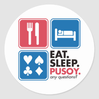 Eat Sleep Pusoy - Red Blue Classic Round Sticker