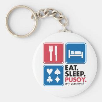 Eat Sleep Pusoy - Red Blue Keychain