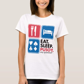 Eat Sleep Pusoy - Red Blue T-Shirt
