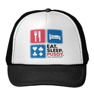 Eat Sleep Pusoy - Red Blue Trucker Hat