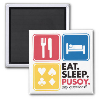 Eat Sleep Pusoy - Red Blue Yellow 2 Inch Square Magnet