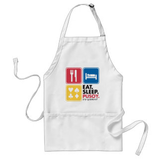Eat Sleep Pusoy - Red Blue Yellow Adult Apron