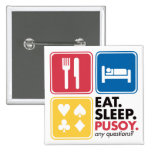 Eat Sleep Pusoy - Red Blue Yellow Buttons