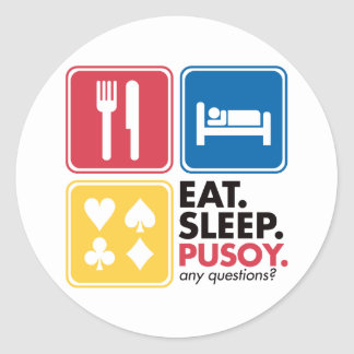 Eat Sleep Pusoy - Red Blue Yellow Classic Round Sticker