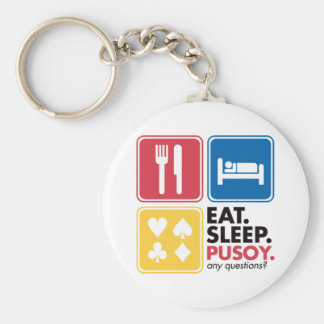 Eat Sleep Pusoy - Red Blue Yellow Keychain