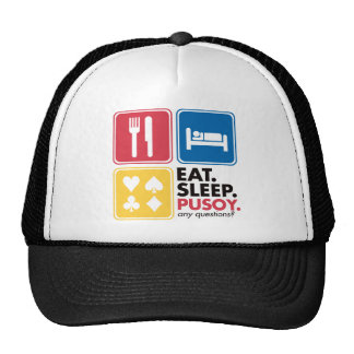 Eat Sleep Pusoy - Red Blue Yellow Trucker Hat