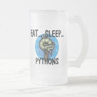 Eat Sleep PYTHONS 16 Oz Frosted Glass Beer Mug