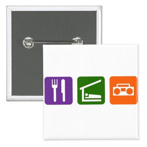 Eat Sleep Radio 2 Inch Square Button