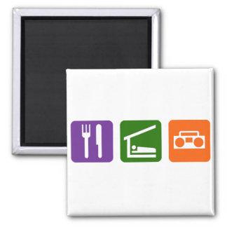 Eat Sleep Radio 2 Inch Square Magnet