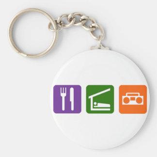 Eat Sleep Radio Basic Round Button Keychain