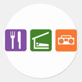 Eat Sleep Radio Classic Round Sticker