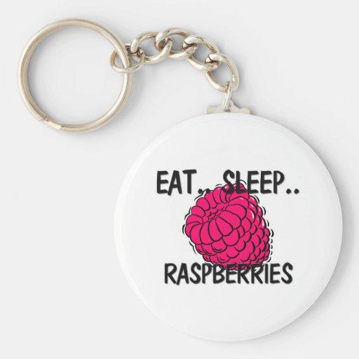 Eat Sleep RASPBERRIES Keychains