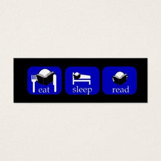 eat sleep read Booklover's Bookmark to Customize Mini Business Card