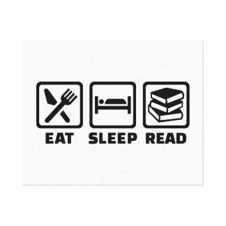 Eat sleep read canvas print