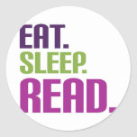 eat sleep read classic round sticker