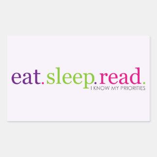 Eat, Sleep, READ - I Know My Priorities Rectangular Sticker