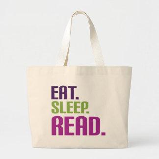 eat sleep read large tote bag