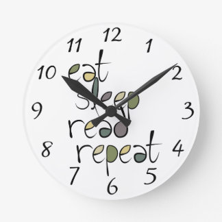 Eat, Sleep, Read, Repeat Round Clock