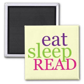Eat, Sleep, READ - Retro 2 Inch Square Magnet
