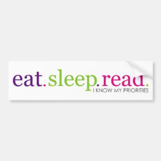 Eat, Sleep, READ - Retro Car Bumper Sticker