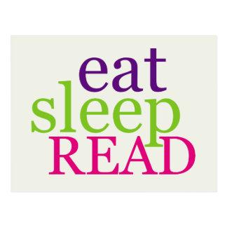 Eat, Sleep, READ - Retro Postcard