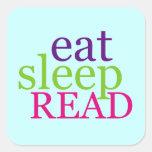 Eat, Sleep, READ - Retro Square Sticker