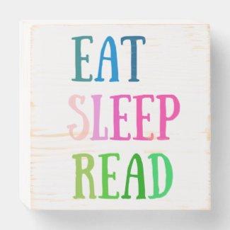 EAT SLEEP READ wooden box sign