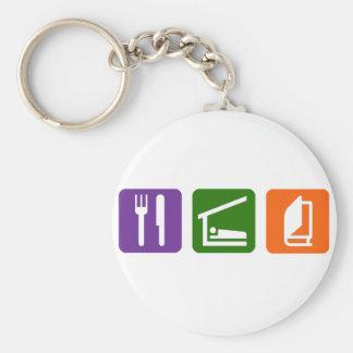 Eat Sleep Reading 2 Basic Round Button Keychain