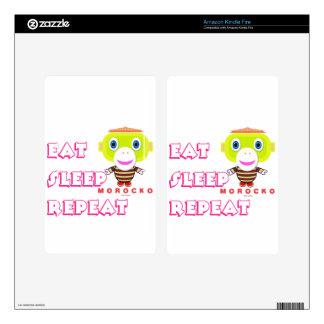 Eat Sleep Repeat-Cute Monkey-Morocko Kindle Fire Decals