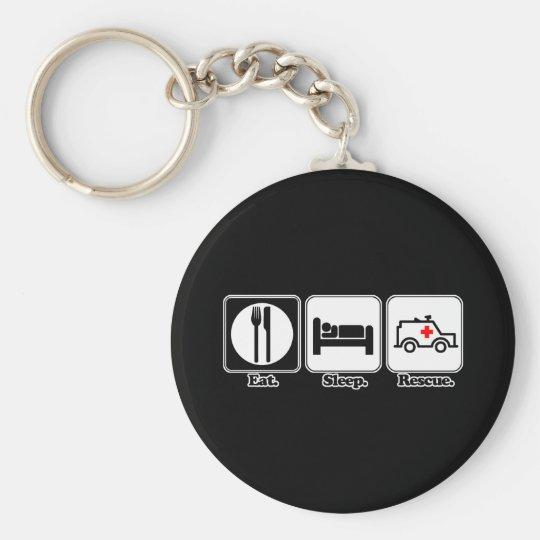 eat sleep rescue keychain