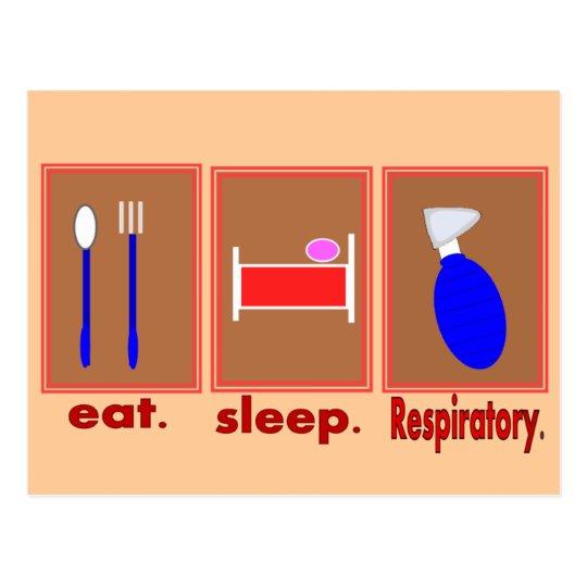 Eat Sleep Respiratory Postcard