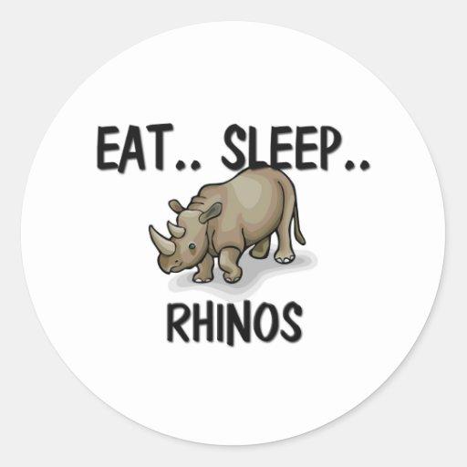 Eat Sleep RHINOS Round Sticker