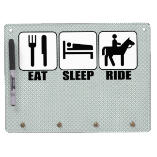 Eat Sleep Ride a Horse Equestrian Horseback Rider Dry Erase Board With Keychain Holder