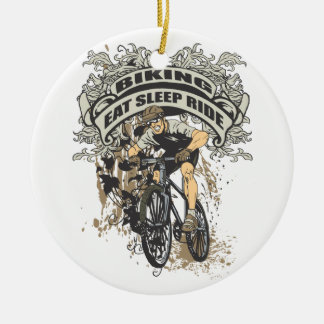 Eat, Sleep, Ride Biking Ceramic Ornament