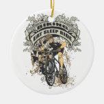 Eat, Sleep, Ride Biking Double-Sided Ceramic Round Christmas Ornament
