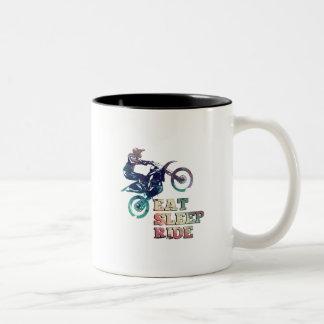 Eat Sleep Ride Dirt Bike Two-Tone Coffee Mug
