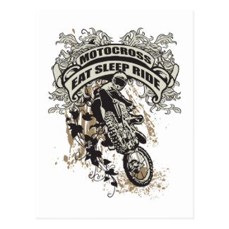 Eat, Sleep, Ride Motocross Postcard