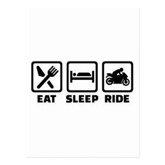 Eat sleep ride motorcycle postcard