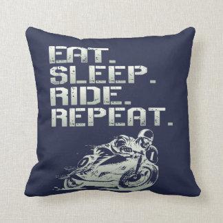 Eat.Sleep.Ride.Repeat. Throw Pillow