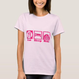 Eat, Sleep, & Ride (Roller Coasters) - Pink New! T-Shirt