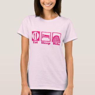 Eat, Sleep, & Ride (Roller Coasters) - Pink T-Shirt