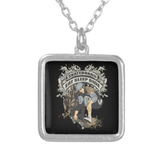 Eat, Sleep, Ride Skateboard Silver Plated Necklace