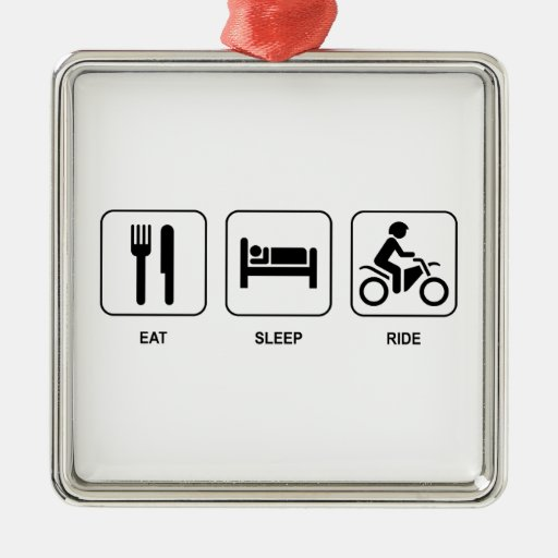 Eat Sleep Ride Square Metal Christmas Ornament