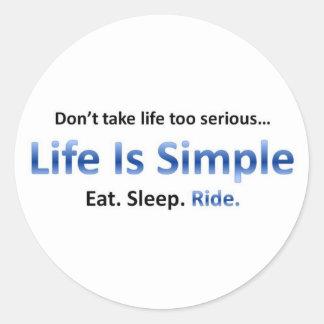 Eat, Sleep, Ride Classic Round Sticker