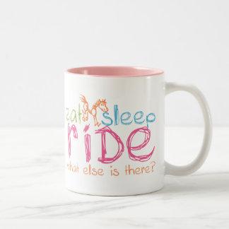 Eat Sleep Ride Two-Tone Coffee Mug