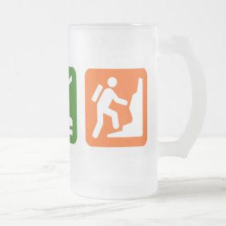 Eat Sleep Rock Climbing 2 16 Oz Frosted Glass Beer Mug