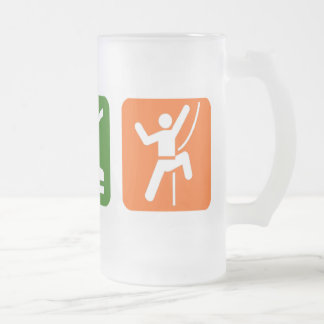 Eat Sleep Rock Climbing Frosted Glass Beer Mug