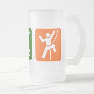 Eat Sleep Rock Climbing 16 Oz Frosted Glass Beer Mug