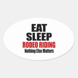 EAT SLEEP RODEO RIDING OVAL STICKER