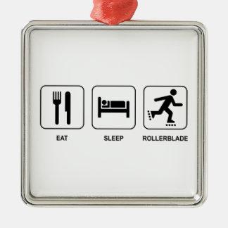 Eat Sleep Rollerblade Metal Ornament